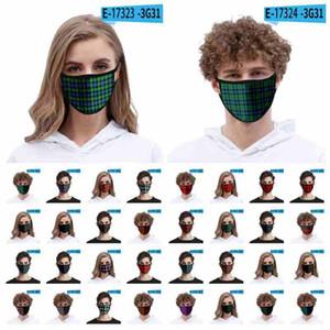 Maschera di modo 3D Plaid viso per l'adulto Bambini ghiaccio seta antipolvere Bocca Maschera antivento riutilizzabile lavabile mascherina protettiva Designer CYZ2613