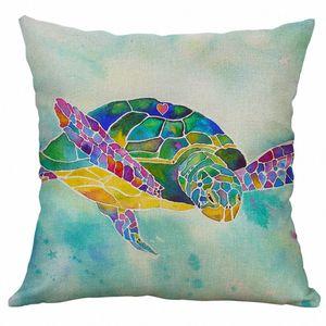 Pillow Cover 100% NEW 2019 Marine Life 45x45cm Linen Pillow Pillowcase Home Decorative Wedding Marine Life Coral Sea Turtle Sea vLMn#