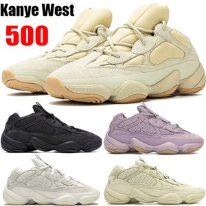 Kanye West 500 Desert Rat des chaussures de course de l'utilitaire d'os blanc noir pierre tendre Vision Sport fard à joues super Lune jaune formateurs de sel
