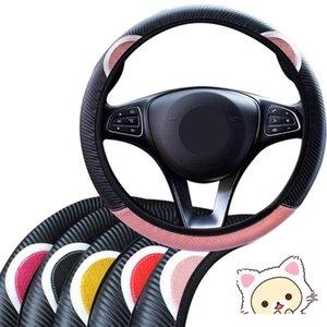 Handle LEEPEE Car volante Covers Auto Decoração Universal cobertura de volante bonito da orelha do gato dos desenhos animados 5 cores