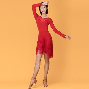New Latin Dance Dress Women Adult Long Sleeve Black Red Practice Clothes Ballroom Dance Competition Dress Tango Costumes VO1042