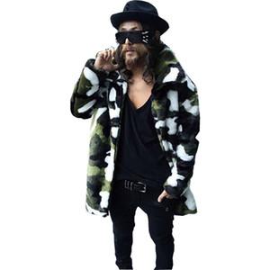 Hombres de piel de imitación para hombres Abrigos de piel largos Empolleos Invierno Moda espesando camuflaje chaquetas