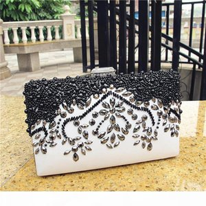 Designer-bridal party purse banquet handbag women pearl evening bags crystal sequin floral leaf patern clutch messenger shoulder bags