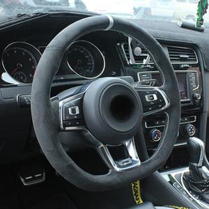Volkswagen Golf 7 Golf R MK7 Polo GTI Scirocco 2015 2016 için diy Siyah süet deri Araç Direksiyon Kapak