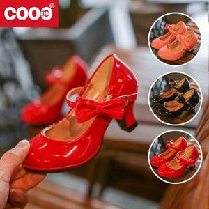 2020 New Girls Leather Shoes Autumn Bowtie Sandals 2020 New Children Shoes High Heels Princess Sweet Sandals For Girls SZ107
