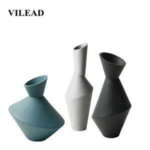 VILEAD 34cm Keramik Geometrische Blumenvase Figuren Nordic-Art Kreative Abstrakt Crafts Soft-Dekoration Wohnkultur Ornament