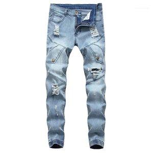 Lässige Jeans Männer Kleidung Loch Herren Designer Jeans Mode schlanke Mulit Taschen Panelled Mens Zipper Fly