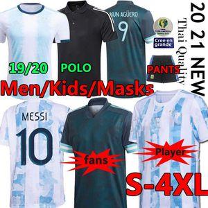 2020 2021 Argentinien Trikot Fußball Jersey Messi Dybala Di Maria Higuain Kun Aguero LAUTARO Fußball Polohemden Jersey HOSE MASKS