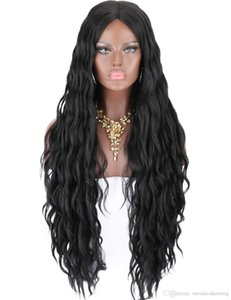 Synthetic Lace Front Wigs for Women Long Curly Wavy Heat Resistant Black Middle Parting Glueless Realistic Looking
