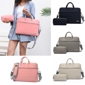 PU Leather Women Laptop Bags Notebook Carrying Case Briefcase For Macbook Air 13.3 14 15.6 Inch Men Handbags Shoulder Mouse Bag