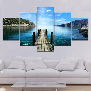 Frame da pintura HD Impresso Sala Painel Modular de 5 Wooden Bridge Lake Pictures Wall Art Poster Home Decor Canvas Modern