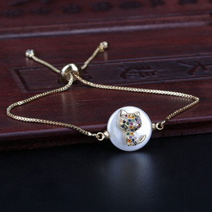 Rainbow Mix Cz Micro Paved Tiny Cute Cat Pet Charm Pearl Connector Charm Gold Dainty Link Bracelet For Woman Jewelry Girl Gift