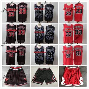 Authentic Stitcheed Mitchell & Ness ChicagoBullsJersey 23 Michael JD 33 Scottie Pippen 91 Dennis Rodman Swingman Basketball Jersey LaVines