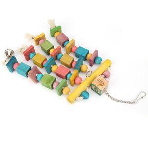 Wood Blocks Chew mordida balanço Pássaro Toy Pet Parrot Acessórios engraçado de suspensão Sinos