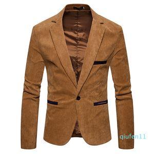 Hot venda-V Long Neck Sleeve Mens Corduroy Blazer Moda Único Tecla contínua Mens Cor Suits Jacket Primavera Masculino Vestuário
