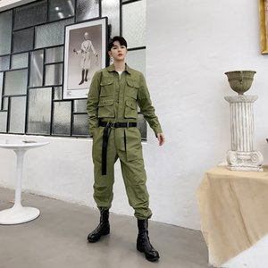 New 2020 Long Sleeve Overalls Mens Casual Bib Harem Pants Streetwear Male M-XXL