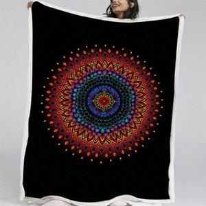 HM Leben Bett Decke Blumendruck Bunte Fluffy Decke böhmischen Art-Sherpa Fleece Blumen-Schwarz-Soft Home Textile lRra #