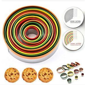 Bunte Edelstahl Biscuit Schneidgarnitur 12st / Set runde Form Cutting Moulds Mousse Kuchen-Biskuit-Donuts Cutter YYA366 20pcs