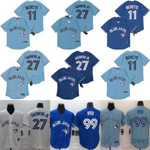 11 Бо Бихет Торонто 2020 Голубые Джейс Джерси 27 Владимир Герреро-младший 99 Hyun-Jin Ryu Men Women Kids Youth Baseball Jersey