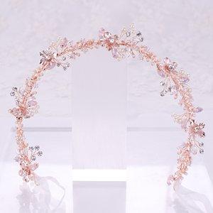 GETNOIVAS mano perla di Faux fascia Foglie Fiore modello Hairband Headwear nuziale della sposa Headpeice capelli dei monili SL