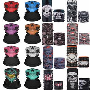 Motorrad-Schädel-halbe Gesichtsmaske Geist Schal magischen Kopftuchs Multi Use Warmer Radfahren Masken Halloween Cosplay Zubehör HA1561
