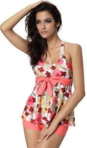 Two Pieces Swimsuit Women Swimwear Push Up Tankinis Set Floral Parttern Summer Ladies Swimwear Women's Clothing Plus Size M-2XL
