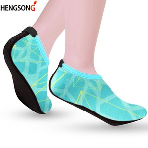 2020 HENGSONG Summer Swimming Water Shoes Women Beach Shoes Adult Unisex Flat Soft Lover Breathable Outdoor Sandalias Mujer