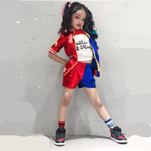 Halloween Harley Quinn Costume Cosplay Kids Girls Suicide Squad Women JOKER Jacket Carnival Costume C0927
