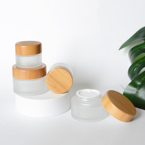 15g 30g 50g Empty Natural Bamboo Wooden Cream Jar Container, DIY Beauty Cosmetic Packaging Glass Frosted Container Travel Bottles