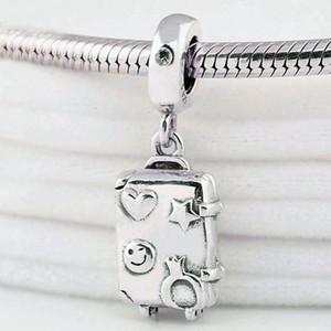 Original Herz-Stern-Winky Gesicht Prêt zu erkunden Koffer-Anhänger-Korn-pass 925 Sterlingsilber-Charme Marken-Armband Diy Schmuck