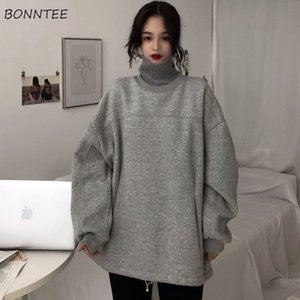 Hoodies Women Thicker Plus Velvet Solid False Two-piece Turtleneck Pocket Loose Oversize Long Style Womens Hoodie Leisure Simple 200923