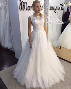 Setwell Jewel Sheer Neck A-line Wedding Dresses Sleeveless Sexy Backless Lace Appliques Floor Length Bridal Gowns