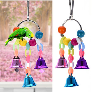 Colorful Beads Bells Suspension Hanging Bridge Chain Pet Parrot Chew Swing Toys Bird Cage Home Decoration Tools