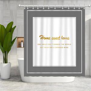 Simple design inspirational English bathroom shower curtain bath curtain Polyester waterproof bath