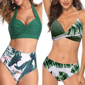 Push Up Halter High Waist Bikini Set Women Swimwear Summer Ladies Female Girls Swimsuit 2020 Tankini Bathing Suit plus size 3XL