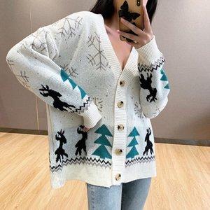 2020 Autumn Winter Women Sweater Cardigans Oversize V neck Knit Cardigans Girls Outwear Christmas Tops Coat women sexy tops