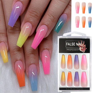 20pcs set Acrylic Candy Color Finish Nail Art Tips Colorful Fake Nails Artificial False Nails With Glue Rainbow Gradient Color