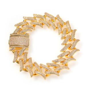 20mm Round Cuban Miami Chain Bracelet Men Hip Hop 3A Cubic Zirconia Bling Iced Out Cuban Link Chain Bangle Bracelets Jewelry