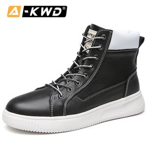 Fashion Black White Single Men Boots Heren Schoenen With Fur Shoes Men Winter Genuine Leather Snow Shoes High Tops Sneakers