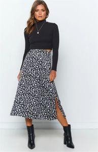 Skirts Women Clothes Split Leopard Print Designer Skirts Sexy Hight Waist Zipper Skirts Fashion A Line Casual Natural Color