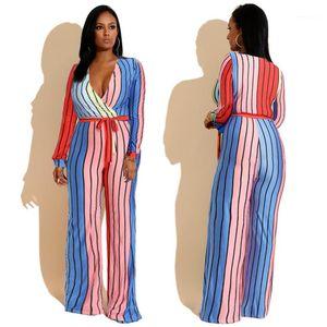 с поясами Мода Женские Rompers Womens Designer Plus Размер Комбинезоны весна осень Глубокий V шеи Bodysuit Повседневный Полная длина штаны