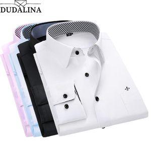 Dudalina Shirt Male Solid Shirt Brand Clothing Pocket Mens Long Sleeve 2020 Summer Slim Fit Casual Men Clothes