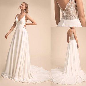 Simple & Charming V-neck Neckline Wedding Dress With Lace Back Bridal Dress vestido de festa de casamento