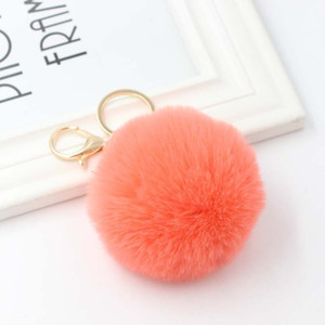 Real Rabbit Fur Ball Keychain Fur Ball Lovely Gold Metal Key Chains Ball Pom Poms Plush Keychain Car Keyring Bag Earrings Accessories