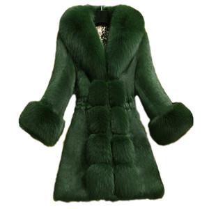 inverno 2020 nova casacos femininos casaco de pele longo de alta qualidade da pele do falso casaco de imitação colar de grandes dimensões roupas femininas