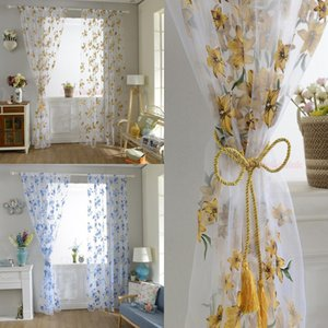 2020 Newest Hot Colorful Floral Print Sheer Privacy Curtain Panel Translucent Window Balcony Tulle Room Divider Flower Curtain