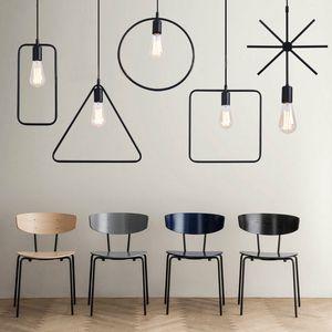 Retro Style Geometrische Nordic Eisen-Anhänger-Licht Kreative Kronleuchter für Restaurant Bar Vereinfachtes Chinesisch Esstisch Pendelleuchten