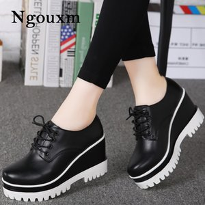 Ngouxm autumn pumps women high heels platform wedge shoes woman leather shoes ladies thick heels designer woman