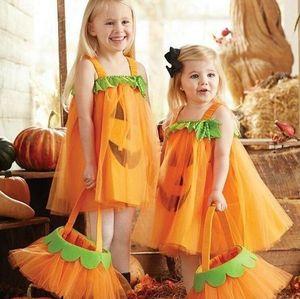 Vestido de gasa de Halloween Cara de Cosplay Vestidos Niños bebés de la princesa del partido del festival calabaza cabritos vestido de tul falda Ropa E9201 Venta