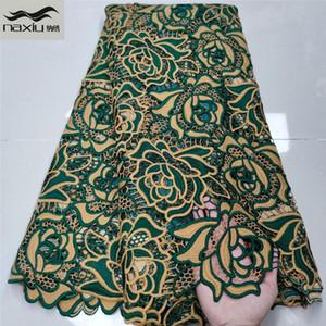 Африканские шнура ткань шнурок высокого качества Гипюр шнур Водорастворимой Lace Многоцветная Нигерийская ткань шнурок для венчания